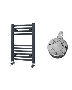Zennor - Anthracite Electric Towel Rail H600mm x W400mm Curved 300w Thermostatic