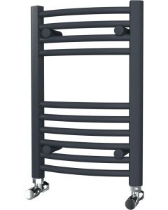 Zennor - Anthracite Heated Towel Rail - H600mm x W400mm - Curved