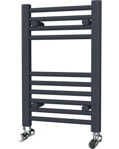 Zennor - Anthracite Heated Towel Rail - H600mm x W400mm - Straight