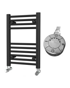 Zennor - Black Electric Towel Rail H600mm x W400mm Straight 300w Thermostatic
