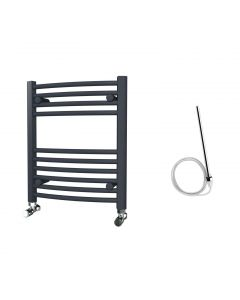 Zennor - Anthracite Electric Towel Rail H600mm x W500mm Curved 300w Standard