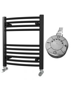 Zennor - Black Electric Towel Rail H600mm x W500mm Curved 300w Thermostatic