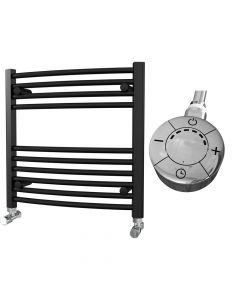 Zennor - Black Electric Towel Rail H600mm x W600mm Curved 300w Thermostatic