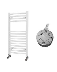 Zennor - White Electric Towel Rail H800mm x W400mm Curved 300w Thermostatic