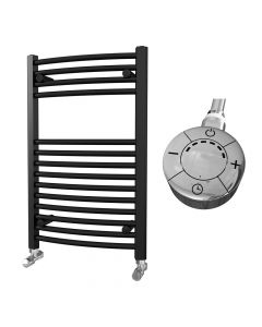 Zennor - Black Electric Towel Rail H800mm x W500mm Curved 300w Thermostatic