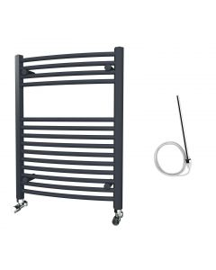Zennor - Anthracite Electric Towel Rail H800mm x W600mm Curved 500w Standard