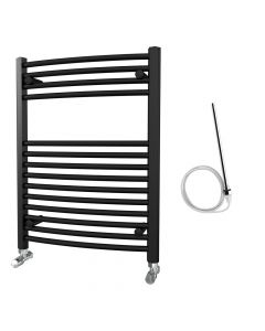 Zennor - Black Electric Towel Rail H800mm x W600mm Curved 500w Standard
