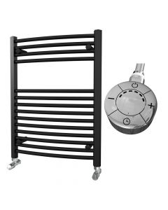 Zennor - Black Electric Towel Rail H800mm x W600mm Curved 300w Thermostatic