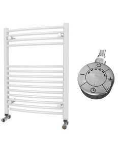 Zennor - White Electric Towel Rail H800mm x W600mm Curved 300w Thermostatic