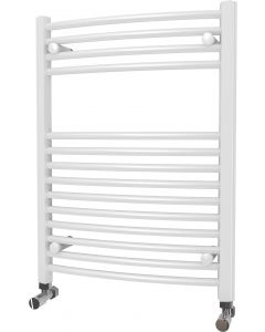 Zennor - White Heated Towel Rail - H800mm x W600mm - Curved